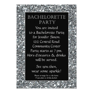 Silver Sparkle Look Bachelorette Party Invitation