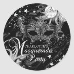 Silver Sparkle Mask Star Night Masquerade Sticker