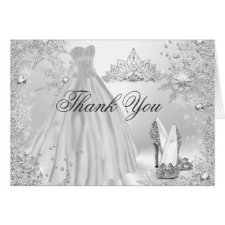 Silver Sparkle Snowflake Thank You Card