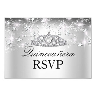 Silver Sparkle Tiara & Stars Quinceanera RSVP Personalized Announcement