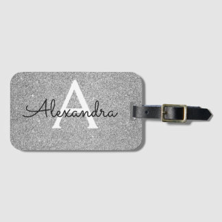 Silver Sparkle Twinkle Glitter Monogram Name Luggage Tag