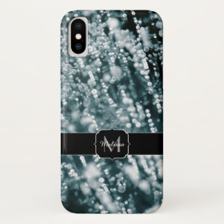 Silver sparkles Frozen Ice bubbles Monogram iPhone X Case