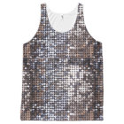 Silver Sparkling Sequin Look All-Over Print Singlet