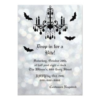 Silver Sparkly Bats Halloween Invitation