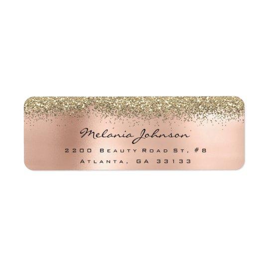 Silver Sparkly Glitter Pink Rose Gold  Metallic Return Address Label