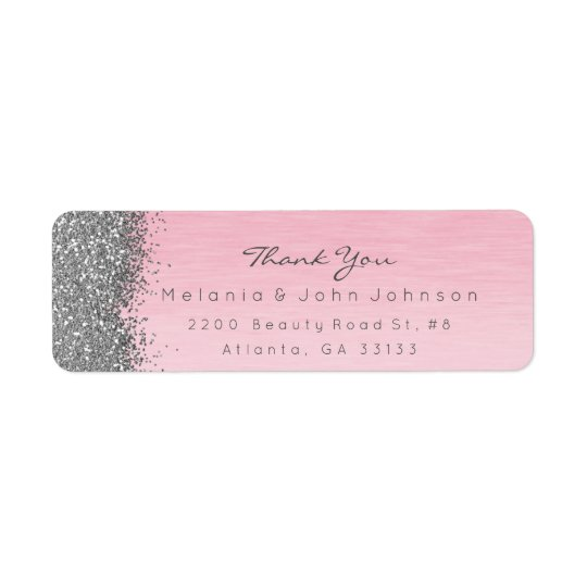 Silver Sparkly Glitter Pink Rose Pastel Return Address Label