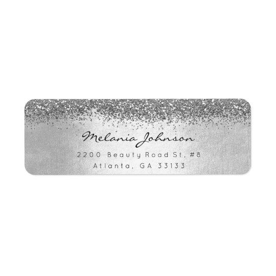 Silver Sparkly Glitter Silver Metallic Return Address Label