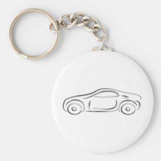 Silver sports car basic round button key ring