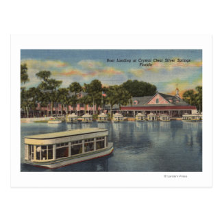 Silver Springs, FL - Waterfront View of Boat Postcard