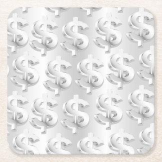 $ Silver $ Square Paper Coaster