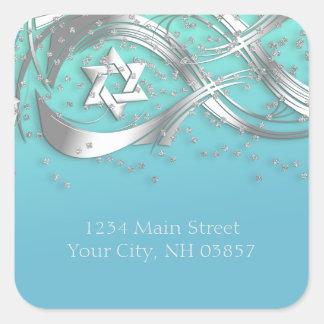 Silver Star Confetti Flourish Return Address Aqua Square Sticker