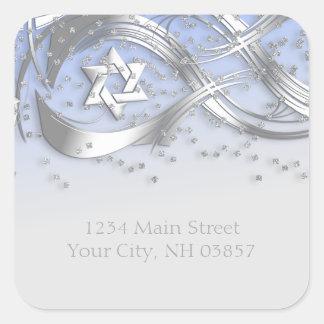 Silver Star Confetti Flourish Return Address Blue Square Sticker