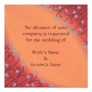 Silver Star Flowers on Orange Wedding Invitations