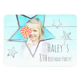 Silver Star Fun Photo Birthday Party Invitation