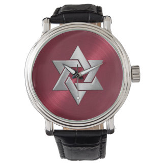 Silver Star of David on Red Wrist Watch