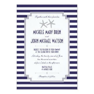 Silver Starfish Couple Nautical Wedding Invitation