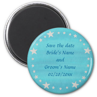 Silver Stars Circle on blue, Save the date magnet