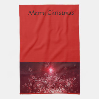 Silver stars on a red background tea towel