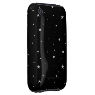 Silver Stars On Black Tough iPhone 3 Cover