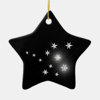 Silver Stars on Black Ceramic Star Decoration