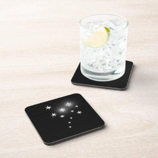 Silver Stars on Black Beverage Coasters