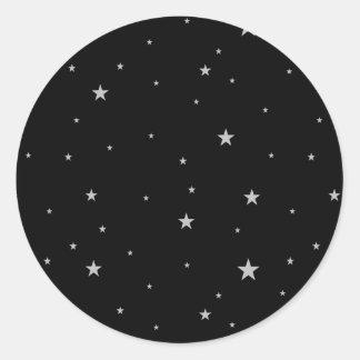 Silver Stars On Black Round Sticker