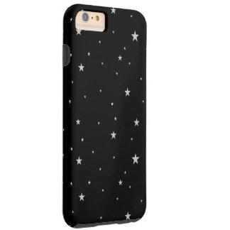 Silver Stars On Black Tough iPhone 6 Plus Case