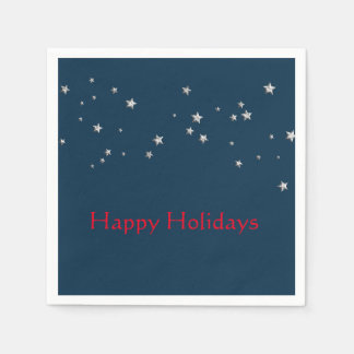 Silver Stars on Blue, Christmas Disposable Napkins