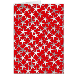Silver stars on dark red note card