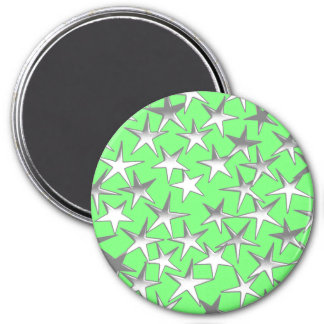 Silver stars, on lime green fridge magnets