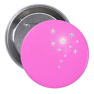 Silver Stars on Pink Button
