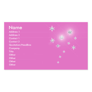 Silver Stars on Pink - Business Pack Of Standard Business Cards
