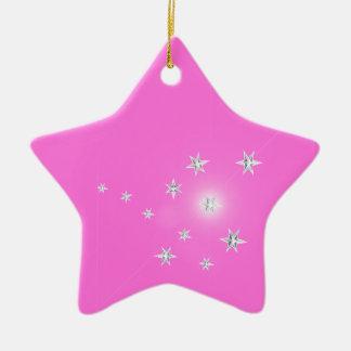 Silver Stars on Pink Ceramic Star Decoration