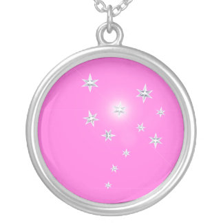 Silver Stars on Pink Round Pendant Necklace