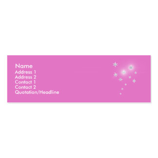 Silver Stars on Pink - Skinny Business Cards