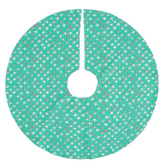 Silver stars on turquoise brushed polyester tree skirt