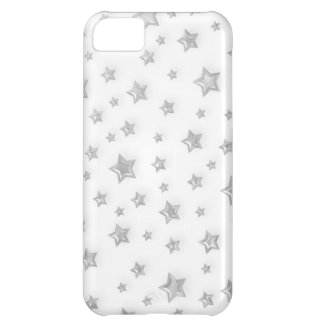 Silver Stars on White iPhone 5 Cover