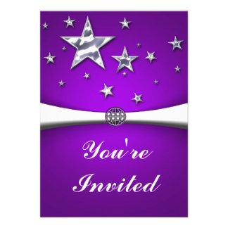 Silver Stars Purple Party Invitation