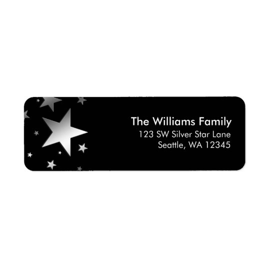 Silver Stars Return Address Return Address Label