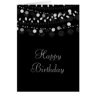 Silver Strings of Lights on Black Birthday Card