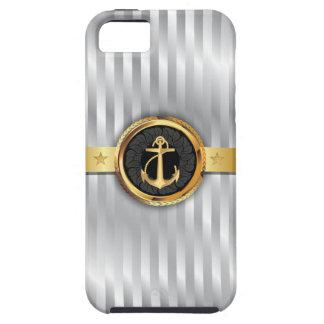 Silver Stripes Gold Anchor iPhone 5 Case