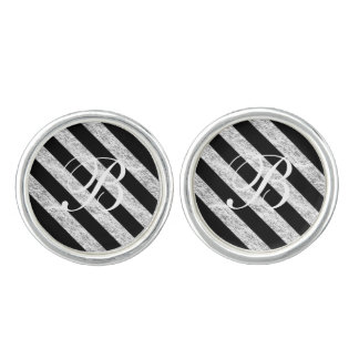 Silver Stripes Pattern Cuff Links