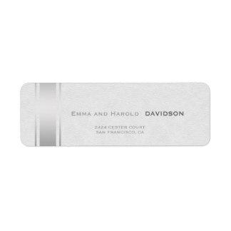 Silver Stripes White Leather Custom Monogram Return Address Label