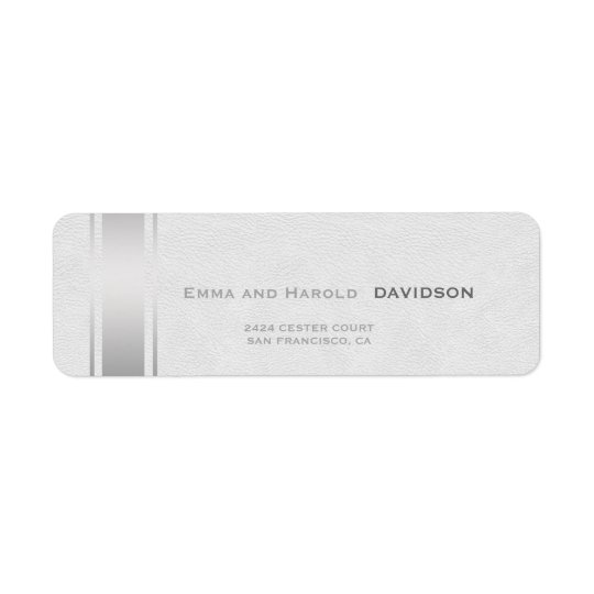 Silver Stripes White Leather Custom Monogram Return Address Label