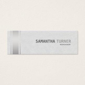 Silver Stripes White Leather Professional Custom Mini Business Card