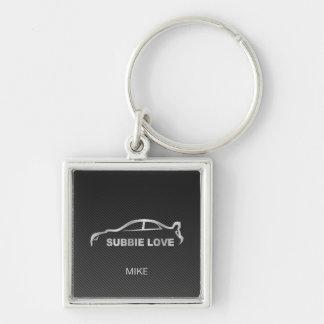 Silver Subbie STI with Faux Carbon Fiber Silver-Colored Square Key Ring
