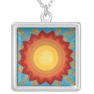 silver sun medallion necklace