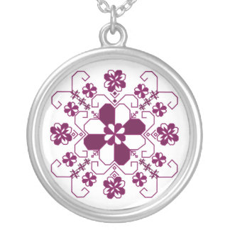 Silver Sun necklace with Latvian burgandy design