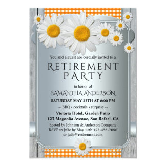 Silver Sunny Daisy Chic BBQ Retirement Invitation