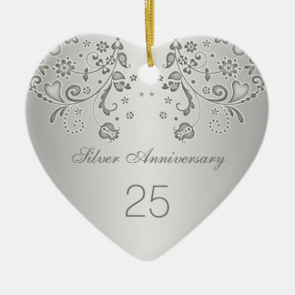 Silver swirls 25th Wedding Anniversary Ornament